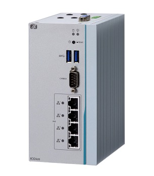 Axiomtek ICO320-83C - Robust DIN-rail Fanless Embedded System with Intel Celeron Processor N3350, COM or CAN, PoE LAN and DIO