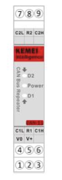 CAN-11 CAN Bus DIN Rail Isolated Repeater - Connections