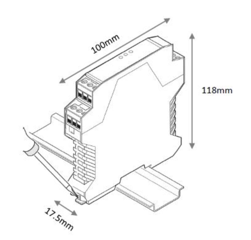 CAN-11 CAN Bus DIN Rail Isolated Repeater - Dimensions