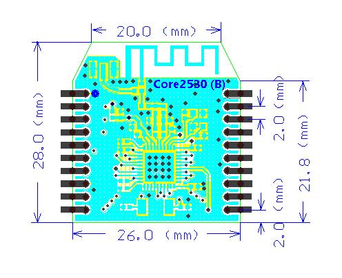 ZigBee Wireless UART Module (XBee Compatible) - Dimensions