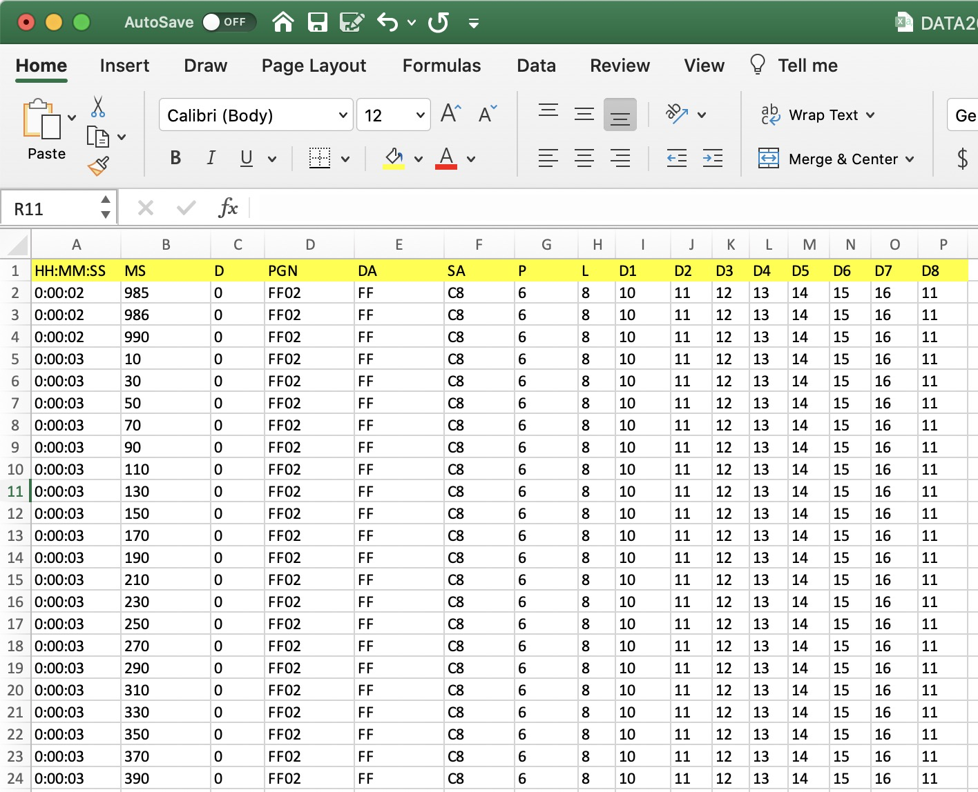 Data Recording Session Excel File