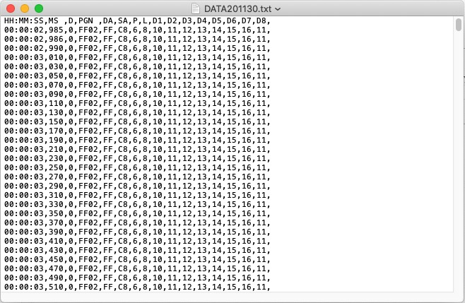Data Recording Session Text File