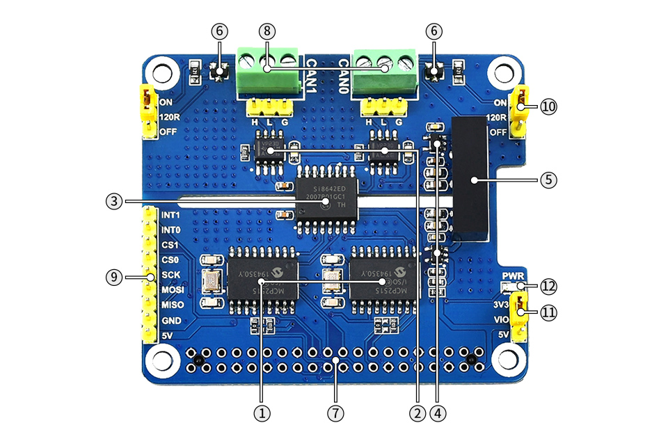 Dual Isolated CAN Bus HAT - Components