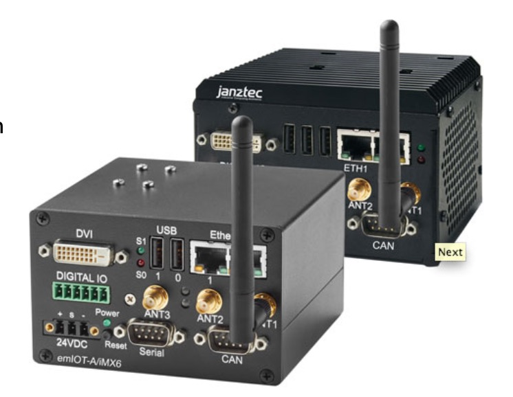 JanzTec emIOT-A/iMX6 - Embedded IoT Gateway based on NXP i.MX6 Quadcore CPU with additional wireless options