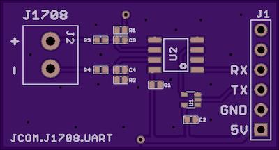 jCOM.J1708.UART - J1708 to UART Breakout Board