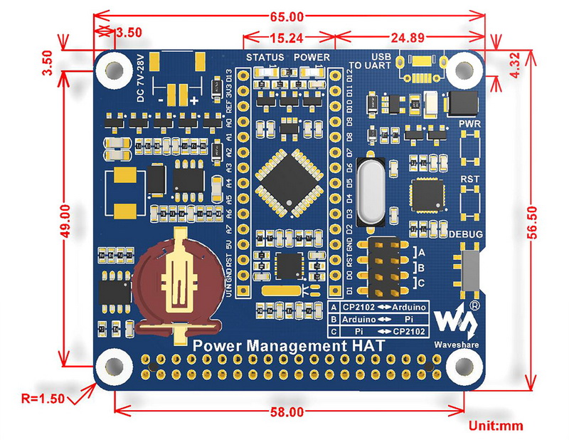 Power Management HAT for Raspberry Pi - Dimensions