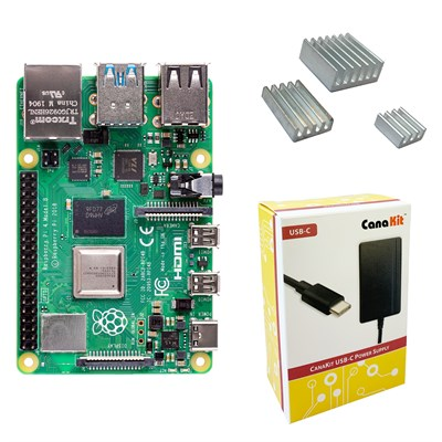 Raspberry Pi 4 With Heat Sinks And Power Supply