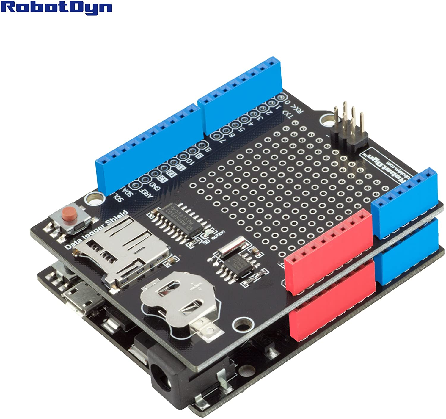 RobotDyn - Data Logger/Logging Shield Compatible for Arduino, MicroSD-Card + RTC (Assembled) with Battery