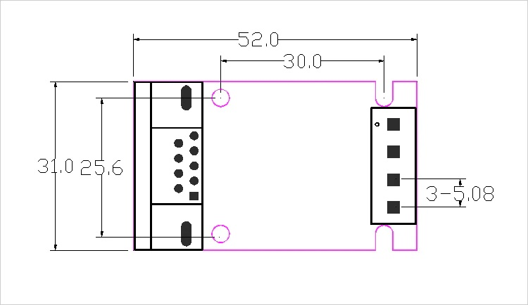 RS232 to LIN Bus Converter Dimensions