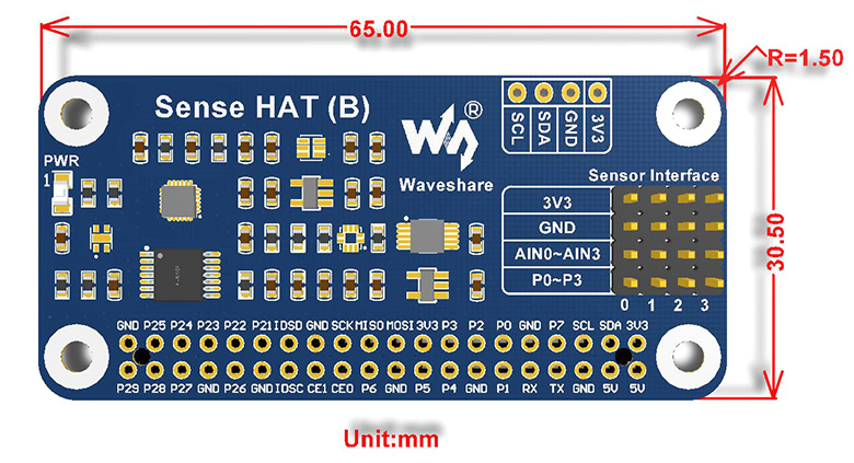 Sense HAT for Raspberry Pi With Multiple Sensors - Dimensions