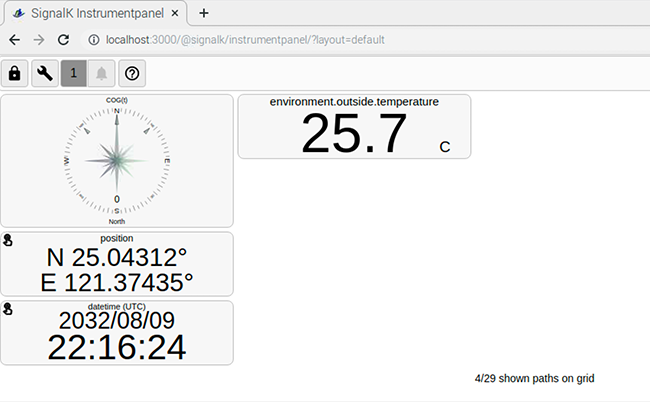 emperature reading from a Yacht Devices Digital Thermometer NMEA 2000 YDTC- 13N on Signal K instrument panel.