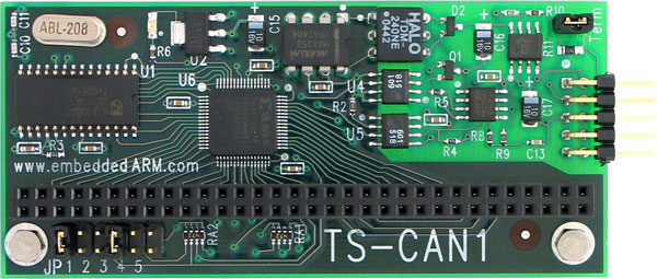 The TS-CAN1 by Technologic Systems is a PC/104 daughter board which provides a single channel CAN interface