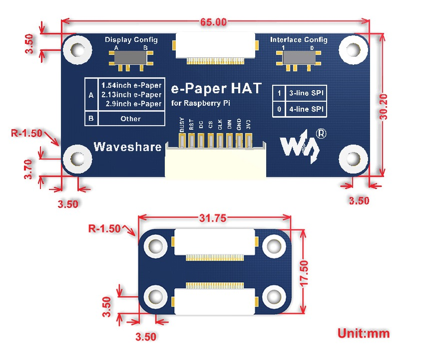 Universal e-Paper Raw Panel Driver HAT - Dimensions