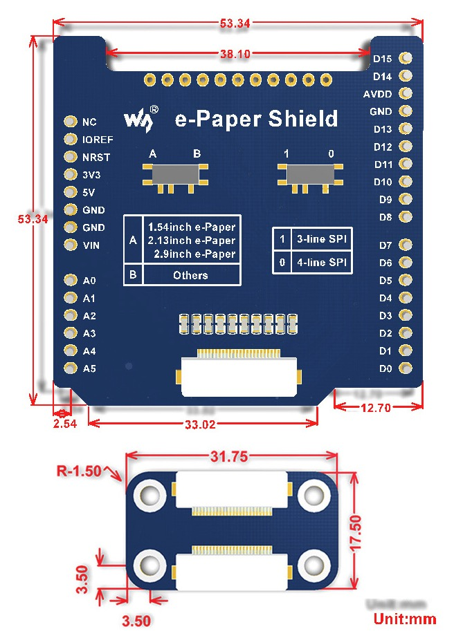 Universal e-Paper Raw Panel Driver Shield for Arduino / NUCLEO - Dimensions