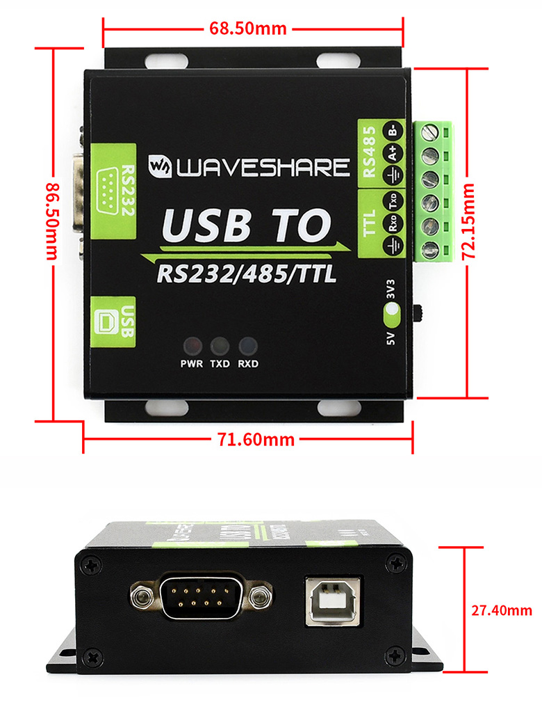 USB TO RS232 / RS485 / TTL Industrial Isolated Converter - Dimensions