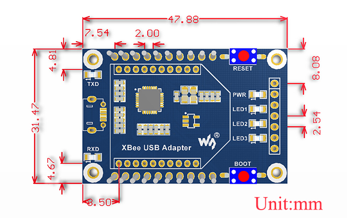 XBee USB Adapter - Dimensions