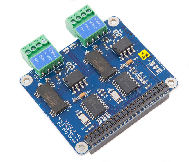 PiCAN2 Duo Isolated CAN-Bus Board for Raspberry Pi
