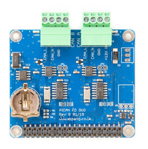 PiCAN FD - CAN Bus FD Duo Board with Real Time Clock for Raspberry Pi