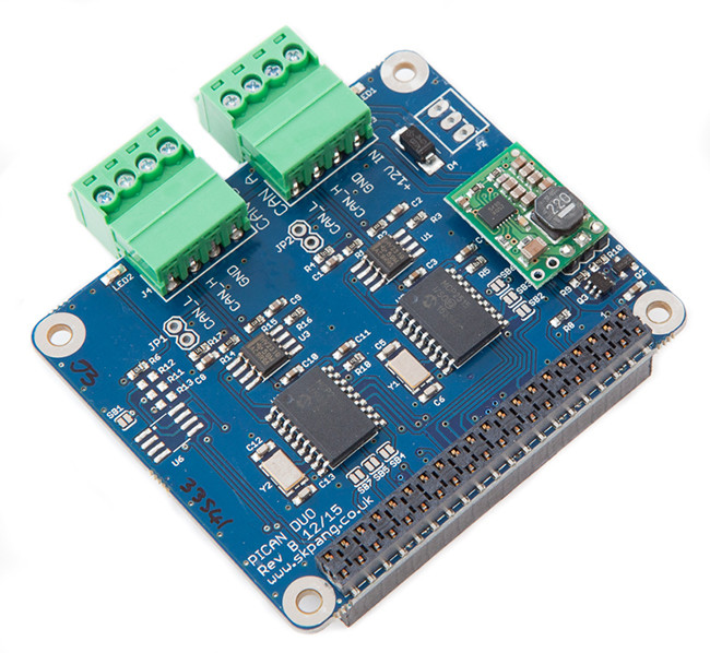 PiCAN2 Duo CAN-Bus Board for Raspberry Pi With SMPS