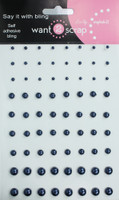 72 Count - Steel Blue Pearls - Self Adhesive