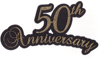 50th Anniversary laser die cut in Gold Glitter