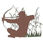 Archery Hunter in field die cut