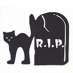 Black Cat and RIP Tombstone