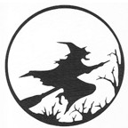 Witch on Broom over Treeline