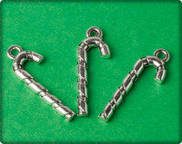 Candy Cane Charm - Antique Silver