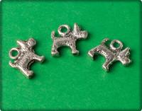 Dog Charm - Antique Silver