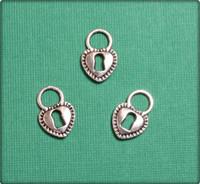 Fancy Heart Padlock Charm - Antique Silver