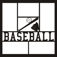 Baseball with Ball, Bat and Glove - 12x12 Overlay