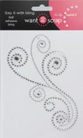Maxxi Girl  Swirls - Silver Rhinestones