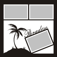 Paradise with Palm Tree  - 12x12 Overlay
