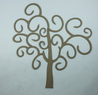 Fancy Swirls Tree Small Die Cut Size - Chipboard Embellishment