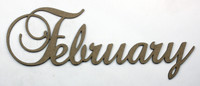 February - Fancy Chipboard Word