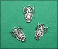 Owl Charm - Antique Silver