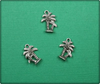 Palm Trees Charm - Antique Silver