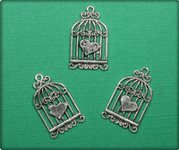 Birdcage with Heart Charm - Antique Silver
