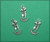 Kissing on the Moon Charm - Antique Silver