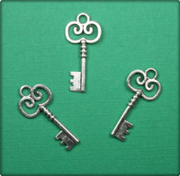 Key with Scroll Charm - Antique Silver