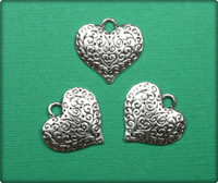 Heart with Swirls Charm - Antique Silver