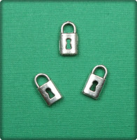Lock Charm - Antique Silver