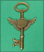 Steampunk Key with Clock and Wings Charm - Antique Brass
