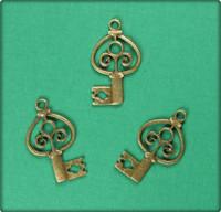 Marquis Key Charm - Antique Brass