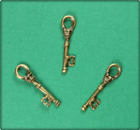 Barrel Key (Small) Charm - Antique Brass