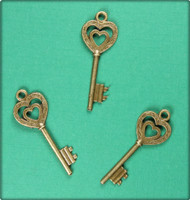 Heart inside a Heart Key Charm - Antique Brass