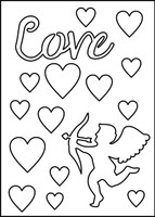 Love-Cupid-Hearts Stencil - 8x10