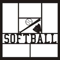 Softball with Ball, Bat and Glove - 12x12 Overlay
