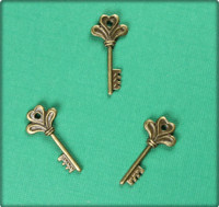 Flowering Heart Key Charm - Antique Brass